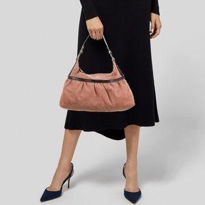 🌸 Fendi Pink Suede Chef Hobo Shoulder Bag